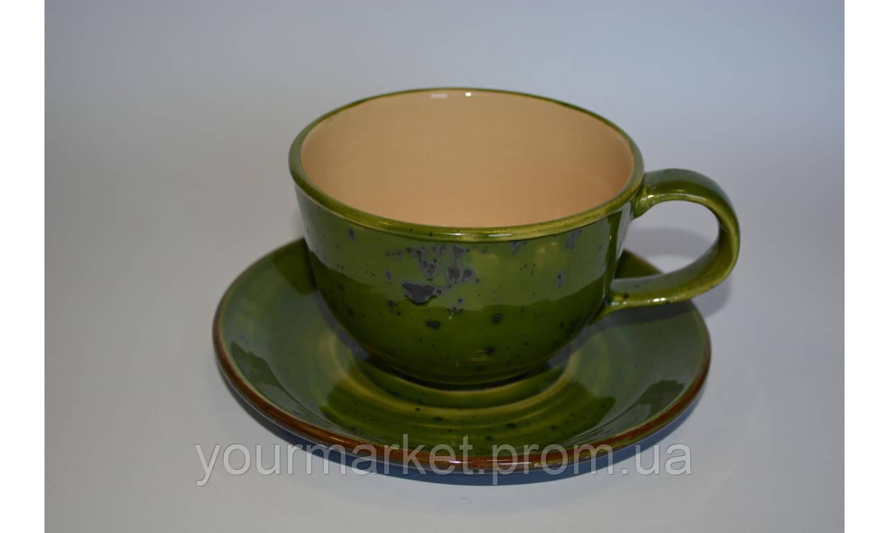 C-11301, Чашка с блюдцем 250 мл зеленая