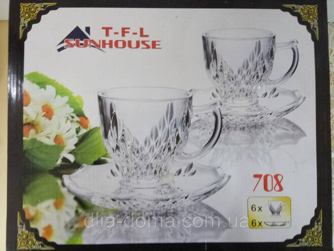 Чашки + блюдца ,6+6 стекло