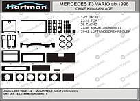Накладки на панель MB T3 VARIO 1996-… WITHOUT A/C