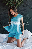 Женская пижама (кофточка + шортики). Голубая, 3 цвета.