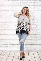 Серая блузка с цветами | 0690-1