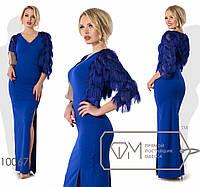 Платье макси приталенное из креп-дайвинга +болеро  размер 42,44,46,48