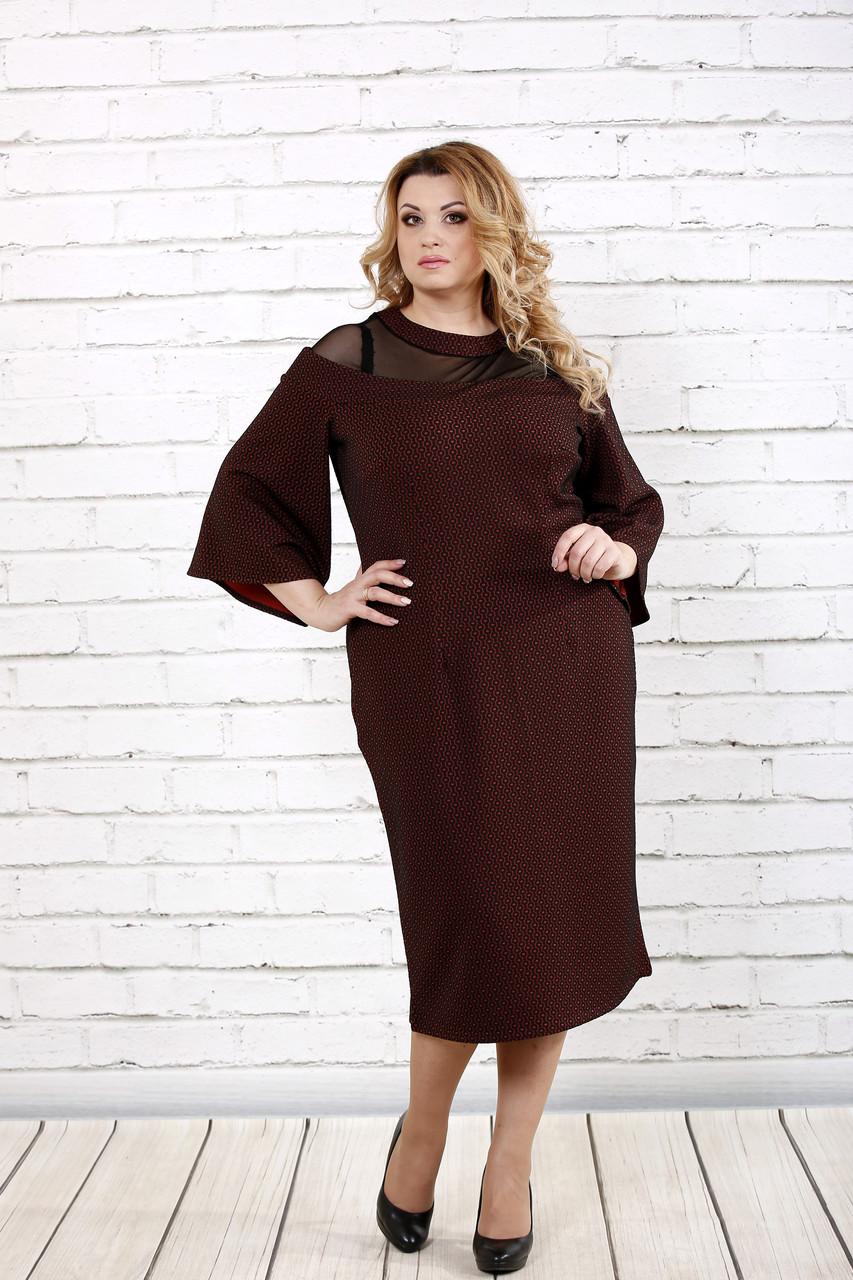 Бордовое длинное платье | 0731-3