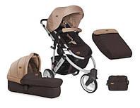 Универсальная коляска 2в1 MONZA 3 детская (чехол на ноги, сумка, корзина) ТМ Lorelli Коричнево-бежевый