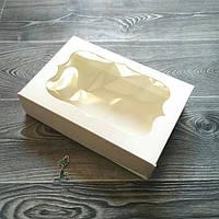 """Коробка для эклеров и зефира """"Молочная"""" с окошком 25*17*6 см"""