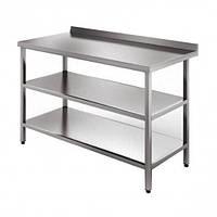 Стол металлический из нержавеющей стали  с двумя нижними полками. цена, размеры: 1900*500*850, AISI 304