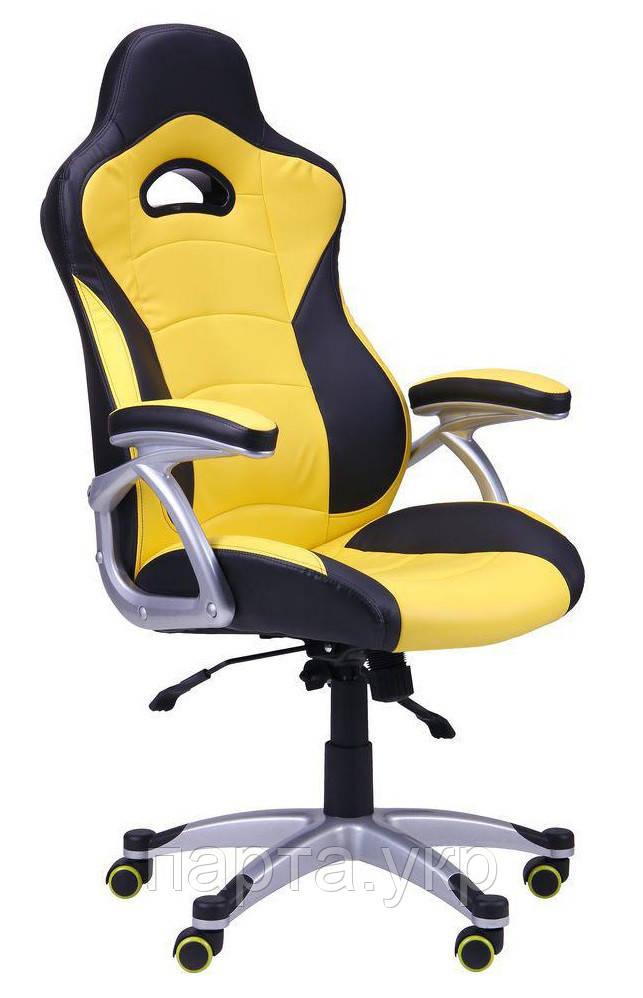 Кресло Форсаж  черный/желтые вставки