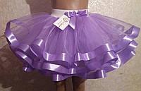 Детская юбка на резинке, сиреневая