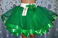 Детская юбка на резинке, зеленая