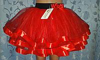 Детская юбка на резинке, красная