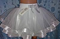 Детская юбка на резинке, белая с серебром