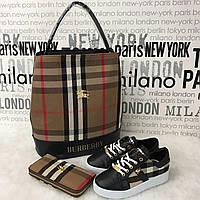 Набор Burberry: сумка, кошелек, обувь, палантин