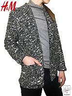 Женский классический серый пиджак H&M с пайетками р. XS 40
