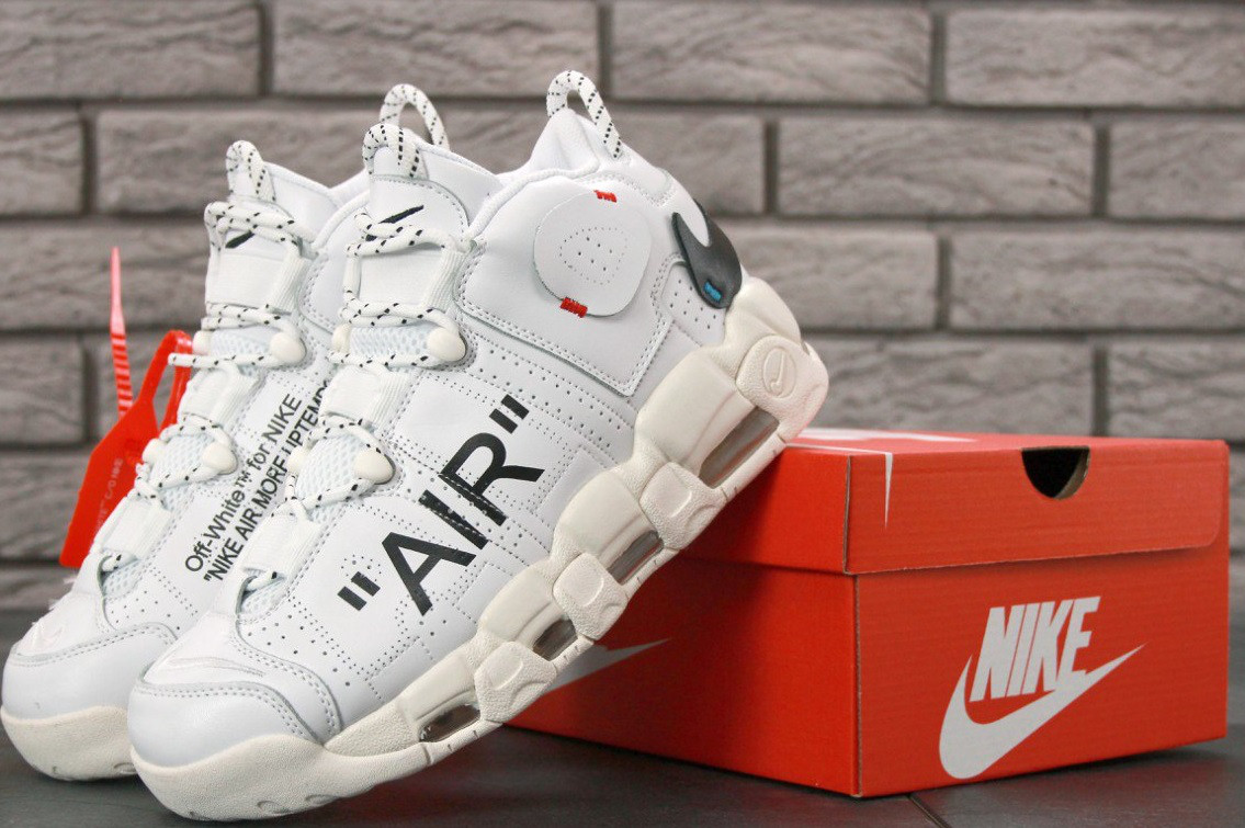 Кроссовки Nike Air More Uptempo x Off-White On Feet. Живое фото (Реплика ААА+)