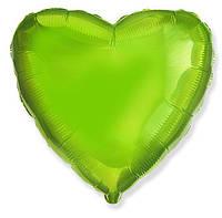 """Воздушный шар сердце салатовое (18""""-45см) фольга, Flexmetal"""