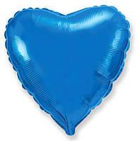 """Воздушный шар сердце синие (18""""-45см) фольга, Flexmetal"""