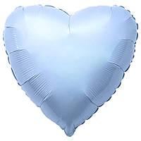 """Воздушный шар сердце голубое (18""""-45см) фольга, Flexmetal"""