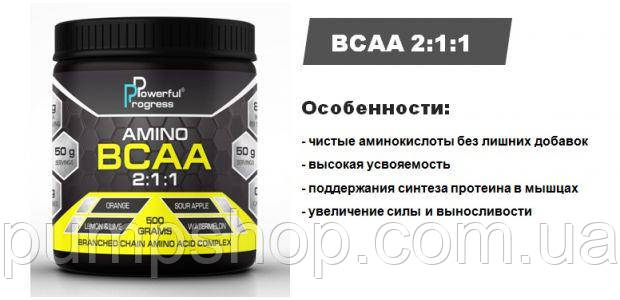 Аминокислоты Powerful Progress BCAA 500 грамм, фото 2