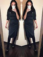 Приталенное платье с разрезом  / 2 цвета арт 3832-36