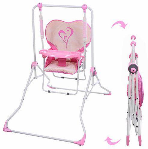 Детская напольная качели+стульчик NA 05-8, розовая