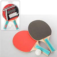Теннис №3, ракетки 2шт, EVA+резина, ручка наборная, 1шарик 40мм, в слюде 18*29*4см (50шт)