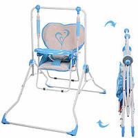 Детская напольная качели+стульчик NA 05-4, голубая