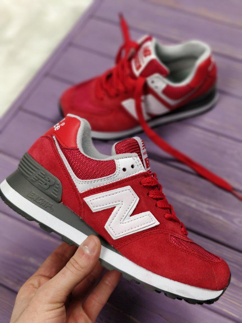 Женские кроссовки New Balance 574 Red. Топ качество. Живое фото (Реплика  ААА+ 1008c4de598e0