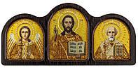 Триптих настольный золото (Ангел Хранитель, Спаситель, Николай Чудотворец)