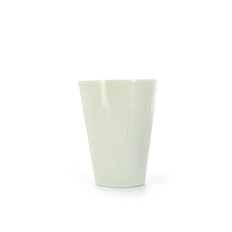 Кружка без ручки 100 мл. фарфоровая, белая с декором под дерево Arborescence Ivory, Revol