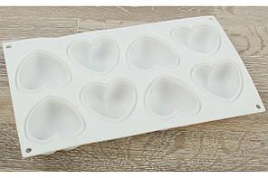 Форма силиконовая  эклипс - сердечки  7 см на 7 см на планшете 8 шт