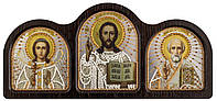 Триптих настольный серебро (Ангел Хранитель, Спаситель, Николай Чудотворец)