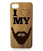 """Дерев'яний чохол  Wooden Cases для Apple iPhone 7/7s/8 з лазерним гравіюванням """"I Love My Beard"""""""