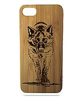 """Дерев'яний чохол  Wooden Cases для Apple iPhone 7/7s/8 з лазерним гравіюванням """"Wolf"""""""