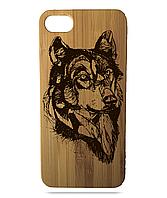 """Дерев'яний чохол  Wooden Cases для Apple iPhone 7/7s/8 з лазерним гравіюванням """"Вовк"""""""