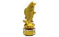 Статуэтка (фигурка) наградная спортивная Рыбалка Рыба золотая C-2035-A5 (р-р 7,5х8х19см)