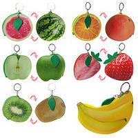 Кошелек X11559 (300шт) брелок, застежка-молния, 6видов(фрукты,ягоды), в кульке, 12-10см