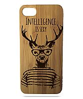 """Дерев'яний чохол  Wooden Cases для Apple iPhone 6 plus з лазерним гравіюванням """"Intelligence Is Sexy"""""""