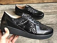 Кроссовки №471-5 черная кожа+пайетки (21801 черн идеал), фото 1