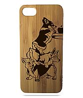 """Дерев'яний чохол  Wooden Cases для Apple iPhone 6 plus з лазерним гравіюванням """"Собаки"""""""