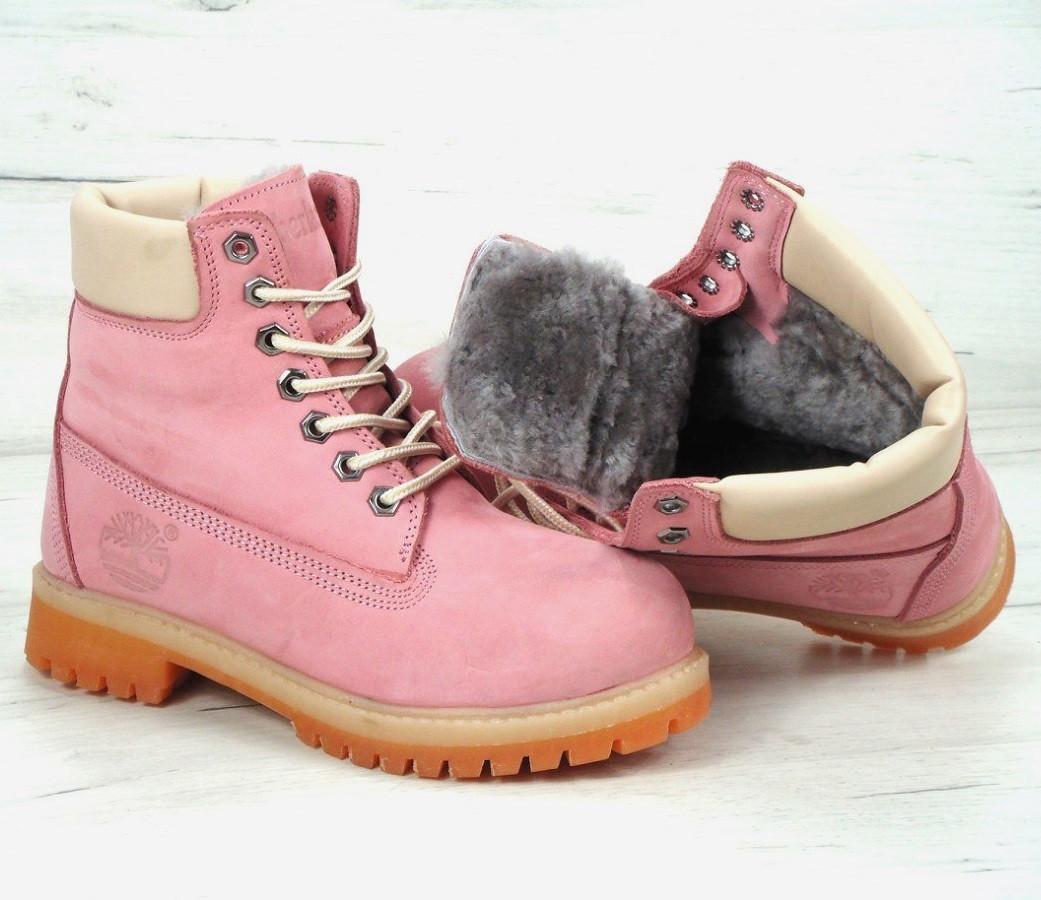 Зимние ботинки Timberland 6 inch pink с натуральным мехом (Реплика ААА+) - Интернет магазин трендовой обуви и одежды в Одессе