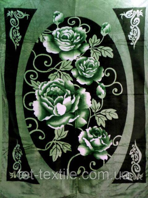 Плед акриловый облегченный True Love Розы на зеленом (150x200)