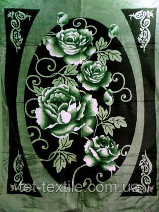 Плед акриловый облегченный True Love Розы на зеленом (150x200), фото 2