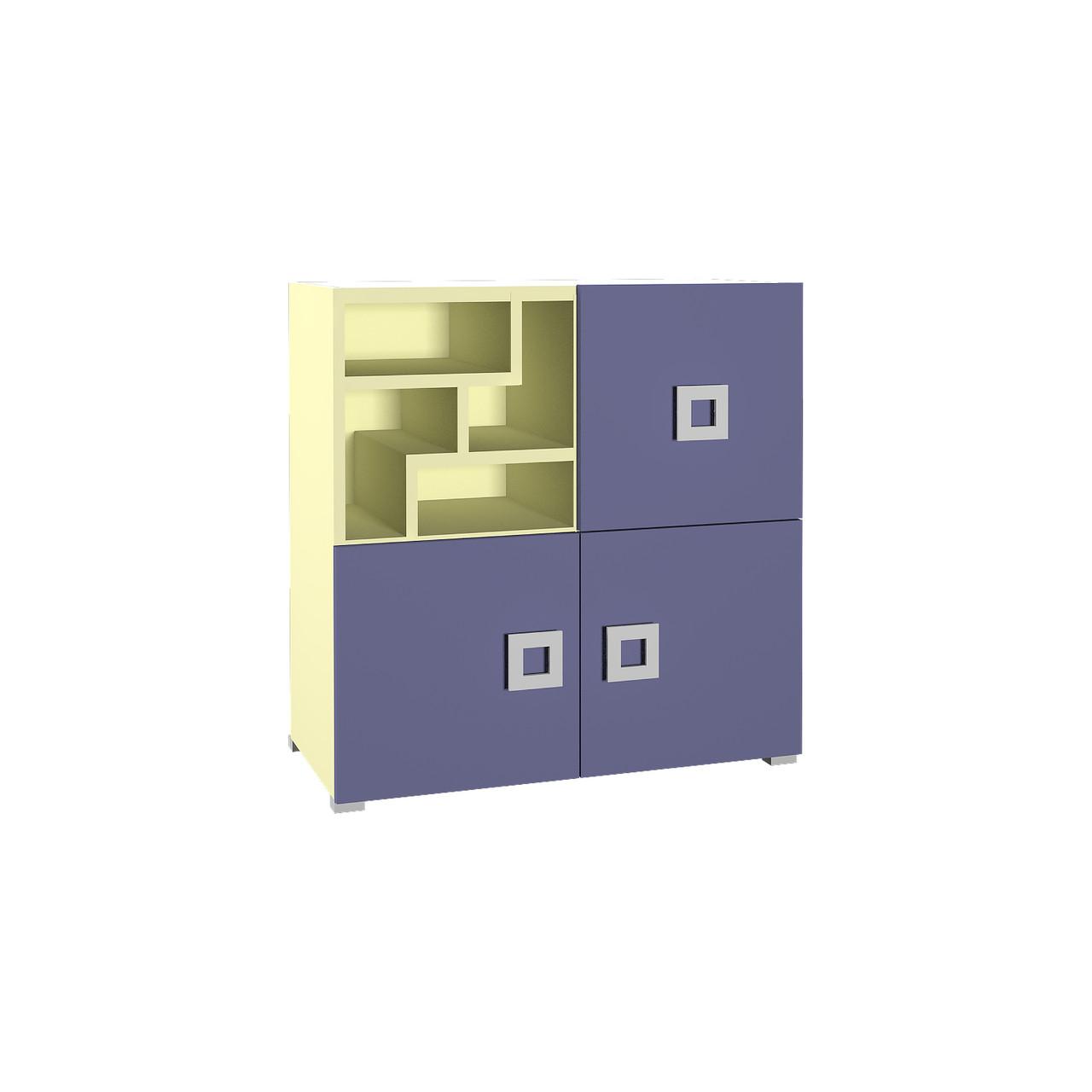 Комод в дитячу кімнату з ДСП/МДФ Labirynt-8 ваніль+синій Blonski