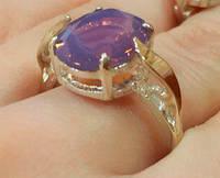 Кольцо серебряное с золотыми накладками Омега с турмалином