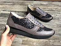 Кроссовки №478-12 визон кожа+камни камета (с151 черн), фото 1