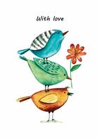 """Листівка """"Пташки з любов'ю"""""""