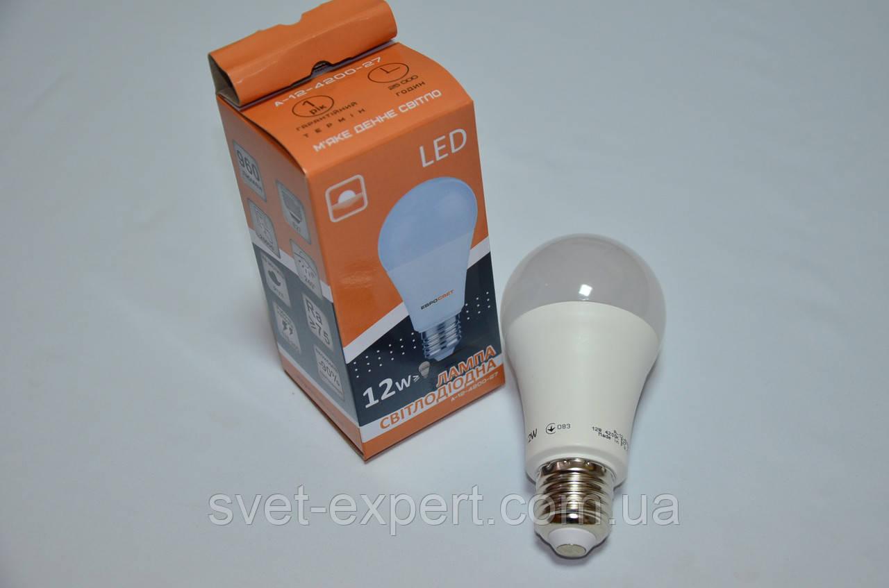 Светодиодная лампа Евросвет A-12-4200-27 12W 4200K E27 220V