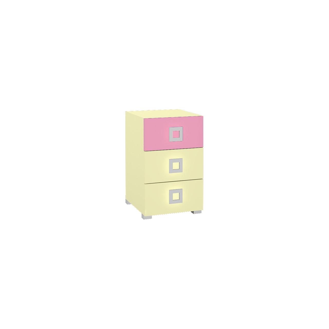 Тумба в дитячу кімнату з ДСП/МДФ Labirynt-9 ваніль+розовий Blonski