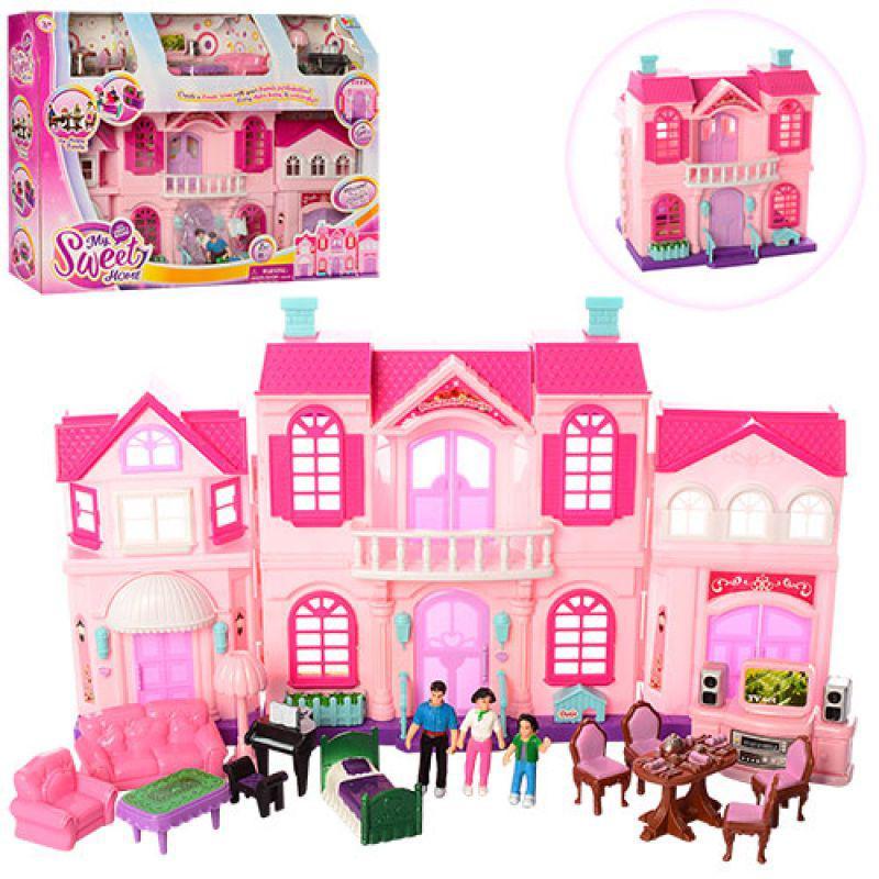 Кукольный дом My Happy Family 16427C. Двухэтажный с мебелью. 3 куклы