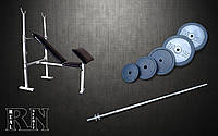Скамья для жима универсальная с приставкой Скотта + Штанга 115 кг